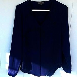 Vince Camuto Navy Long Sleeve V-neck Top, …